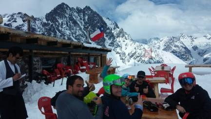 Lunch at the top of the mountain in Portillo, Chile