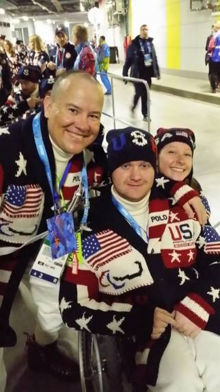 With flag bearer Jon Lujan and two-time bronze medalist Stephanie Jallen at the Sochi 2014 Opening Ceremony