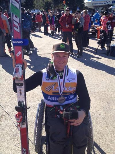 Silver medal in downhill at the 2013 IPC Alpine Skiing World Championships in La Molina, Spain