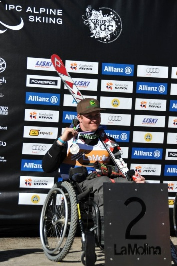 On the podium at the 2013 IPC Alpine Skiing World Championships in La Molina, Spain